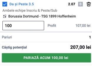 Ponturi pariuri Dortmund - Hoffenheim, 27 august 2021. Un pont de încredere ne dublează banii