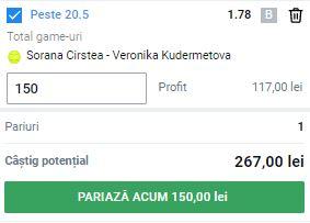 Pontul zilei din tenis 31 august 2021. Profit pe meciul Sorana Cirstea - Veronika Kudermetova