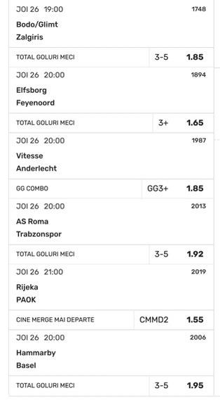 Biletul zilei cu meciuri din Conference League, 26 august 2021. Peste 30 cotă pe goluri multe