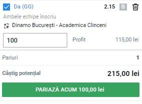 Ponturi pariuri Dinamo - Academica Clinceni, 2 august 2021. Cota profitabilă: 2,15