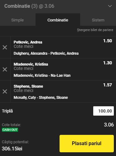 Bilet tenis 3 august 2021. Ne triplăm banii pe meciuri de la WTA Cluj și SUA