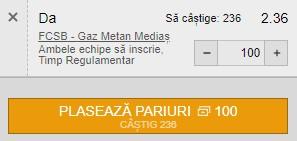 Ponturi pariuri FCSB - Gaz Metan, 8 august 2021. Cota profitabilă: 2,36