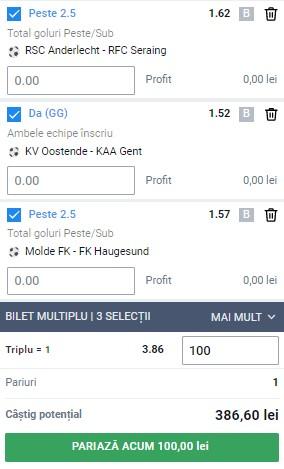 Biletul pe goluri din 8 august 2021. Cota 3,86 pe meciuri din Belgia și Norvegia