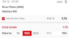 Bilet Copa Libertadores: River Plate vs. Atletico-MG. Cota profitabilă: 1,73