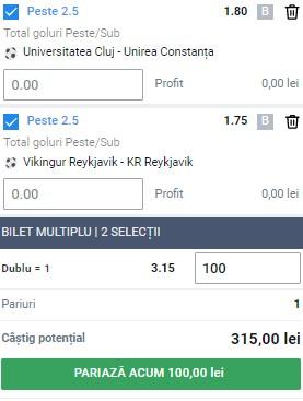 Biletul pe goluri din 12 august 2021. Liga 2 din România și Cupa Islandei pentru profit