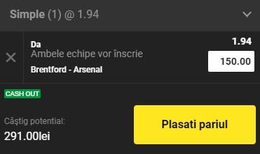 Ponturi pariuri Brentford - Arsenal, 13 august 2021. Cota profitabilă la debutul noului sezon Premier League