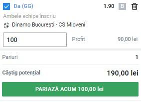 Ponturi pariuri Dinamo - Mioveni, 16 august 2021. Cota profitabilă: 1,90