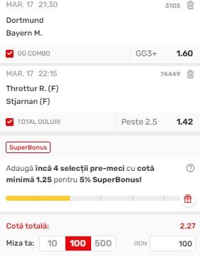 Biletul zilei din 17 august 2021. Super pariu la Dortmund - Bayern