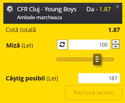 Ponturi pariuri CFR Cluj - Young Boys (3 august 2021)