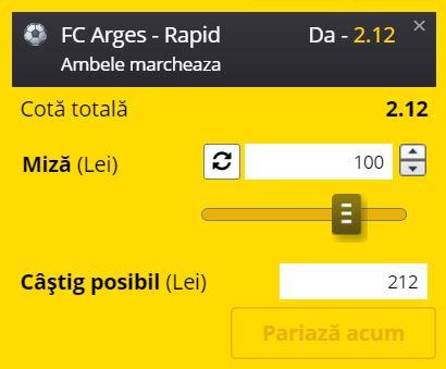 Ponturi pariuri FC Argeş - Rapid (7 august 2021)
