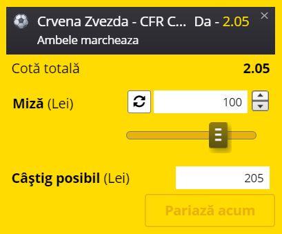 Ponturi pariuri Steaua Roşie - CFR Cluj (17 august 2021)