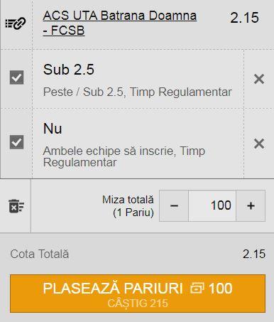 Ponturi pariuri UTA Arad - FCSB (1 august 2021)