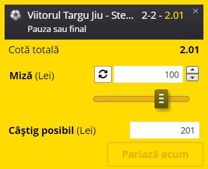 Ponturi pariuri Viitorul Tg. Jiu - CSA Steaua (10 august 2021)