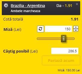 Ponturi pariuri Argentina - Brazilia, Cupa Mondială 2022 - Calificări, 5 septembrie 2021. Cota profitabilă: 1,91