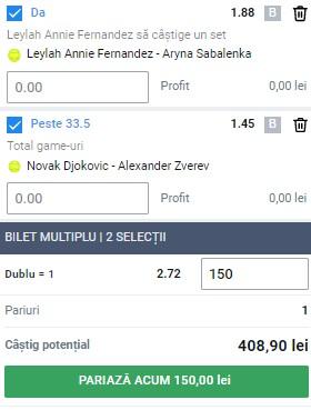 Bilet tenis 9 septembrie 2021. Profit pe semifinalele de la US Open 2021